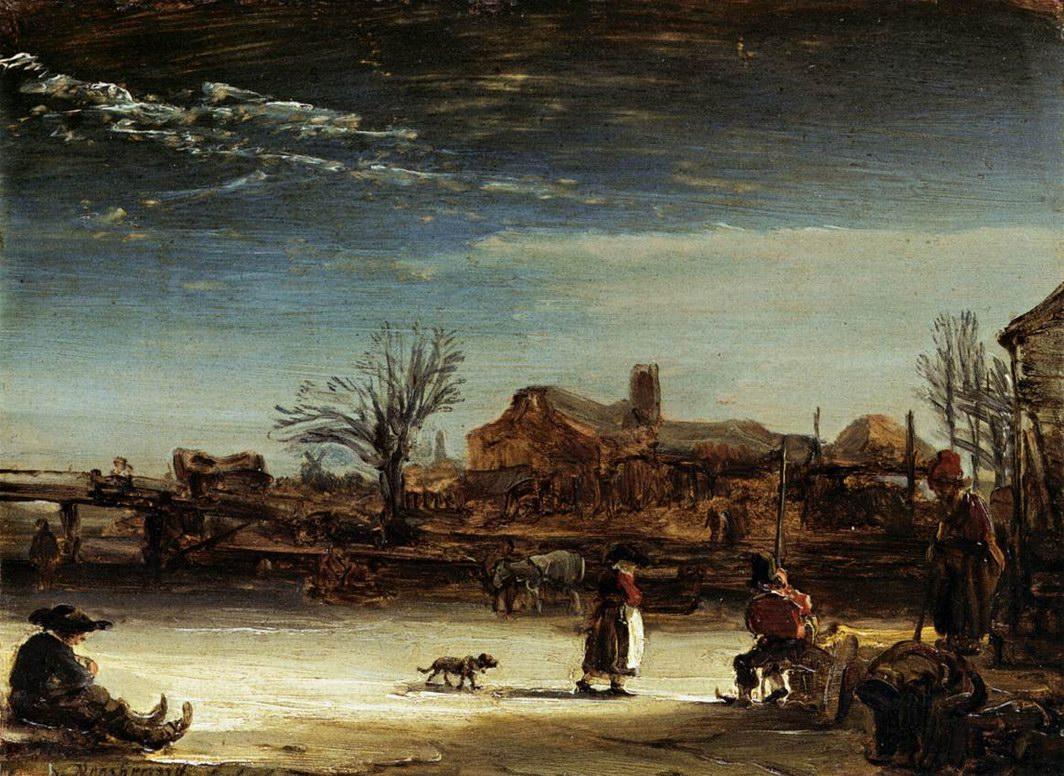 Харменс ван рейн зимний пейзаж 1646